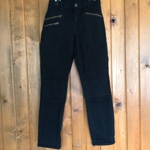 Black Toothpick JCrew Jeans with Zipper Details